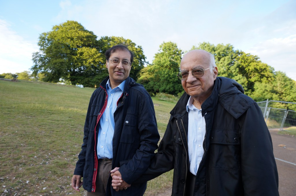 Obhi and his father at Box Hill, Surrey in June 2014